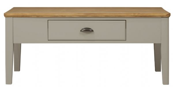 Braemar Grey and Oak Coffee Table One Drawer Coffee Table with metal fittings